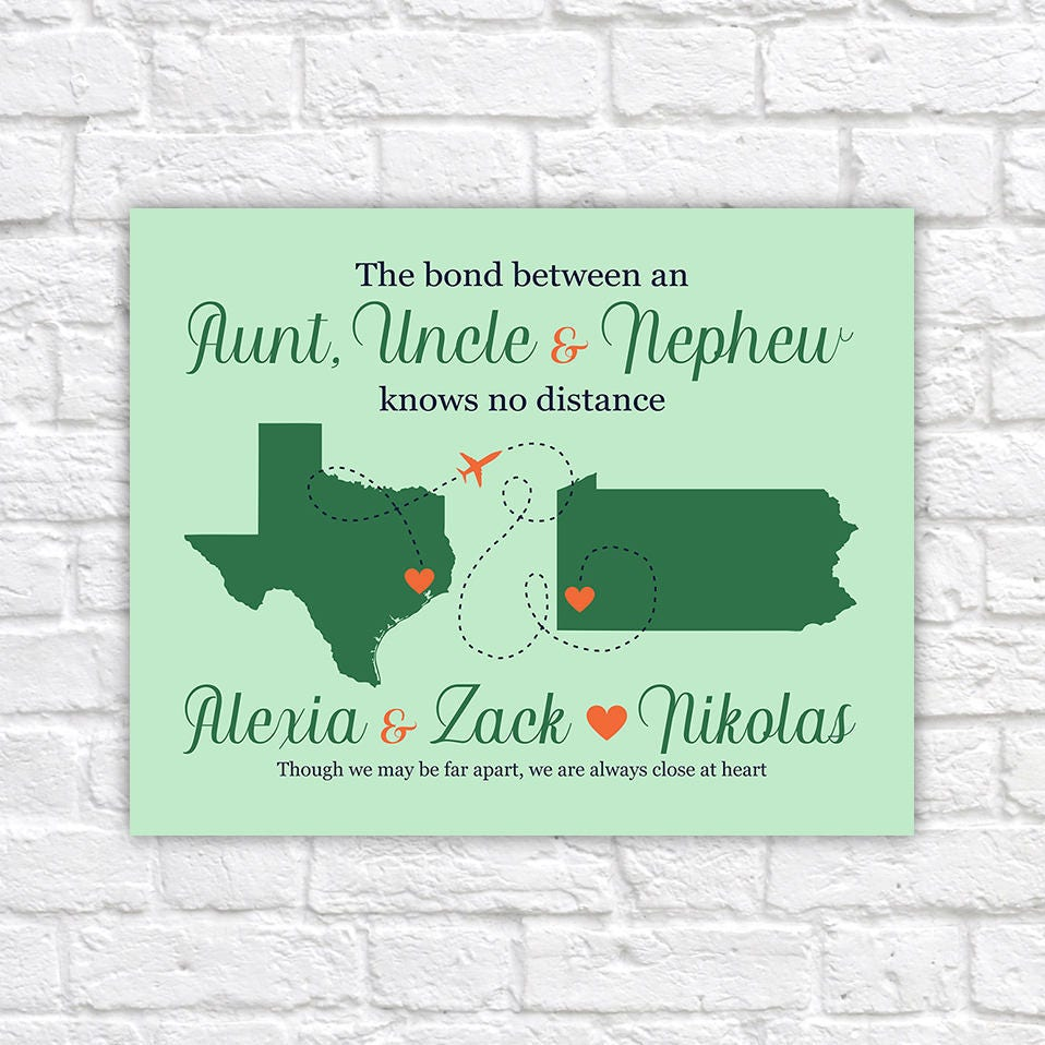 Gift For Uncle Niece Quote Map Long Distance Moving Away Gift