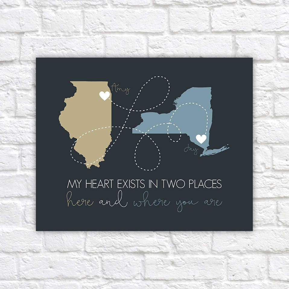 Heartfelt Gift For Boyfriend Long Distance Relationship Maps State Quotes Birthday Decor