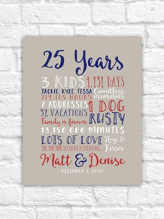 25th Wedding Anniversary Gift Paper Canvas Twenty Fifth 10 Etsy