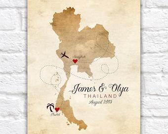 Thailand Map Wedding Gift, Engagement, Honeymoon, Custom Gift Personalized for Couple, Phuket, Bangkok, Thai Decor, Gift Husband Wife | WF43