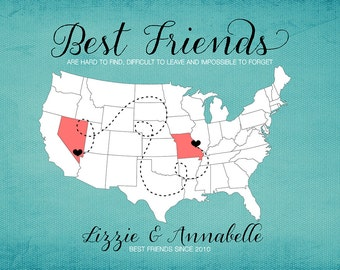 BFF, Gift for Best Friend, Moving Away Gift,  Print - Long Distance Friendship Gift, Going Away Personalized Map of US, Best friends WF221