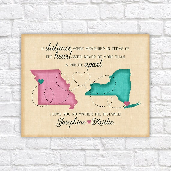 Personalized Moving Maps, Go Away Gift for Friend, Best Friend Moving Away,  Long Distance Friendship Quote, Going Away, Distance Map | WF439