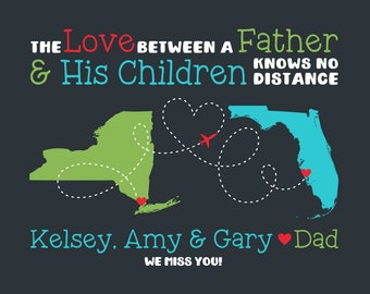 Father's Day Gift for Dad, Gift from Siblings to Dad, Long Distance Map, Social Distancing Fathers Day Gift, Dad to Kids Maps, Quote Daddy