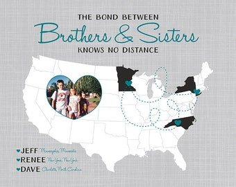 Custom Gift for Brothers and Sisters - Art Map, Your Photo in a Heart on a Map - Personalized Art, Long Distance Family, Map for Mom WF100