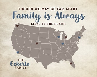 Family Sign, Wall Art, Personalized Gift, Parents, Children, Grandparents - Family Map, Farmhouse Decor, Siblings, Brother   WF425
