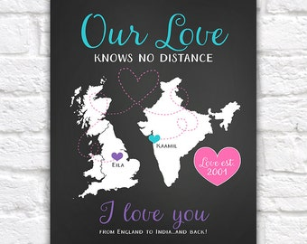 Long Distance Anniversary Gift for Boyfriend, Girlfriend, Husband, Wife - India and UK England Maps, Personalized Present for Couple WF257