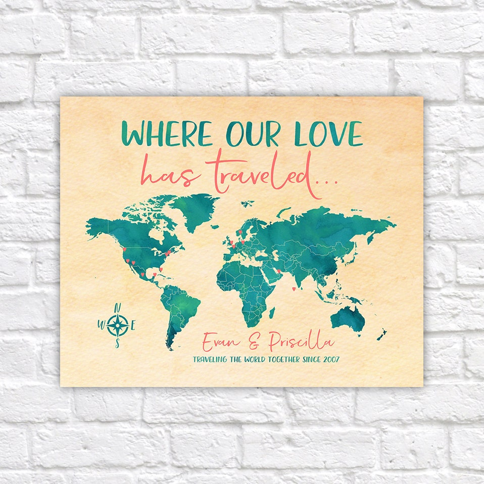 Where our love has traveled personalized world map of travels teal where our love has traveled personalized world map of travels teal and coral push pin map 10th 10 year anniversary travel wf191 gumiabroncs Choice Image