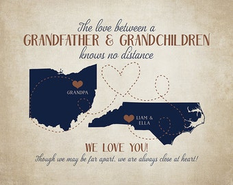 Gifts for Grandpa, Grandfather and Grandchildren Long Distance, Gift for Father In Law, Retirement, Grandpa, Grandkids Moving   WF127