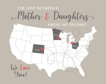 Long Distance Mom Daughters Art, Locations on Map, Mom Birthday Gift, Mothers Day Gift from Daughter, Gifts for Daughter Personalized