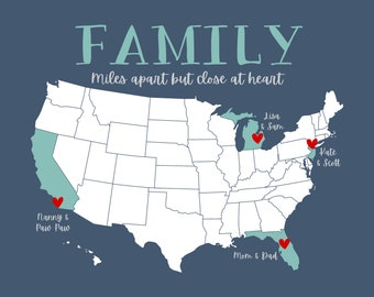 Long Distance Family Gift, US States Map, Home State Gifts, Mothers Day or Fathers Day Gift For Parents, Moving Away Gift, Long Distance