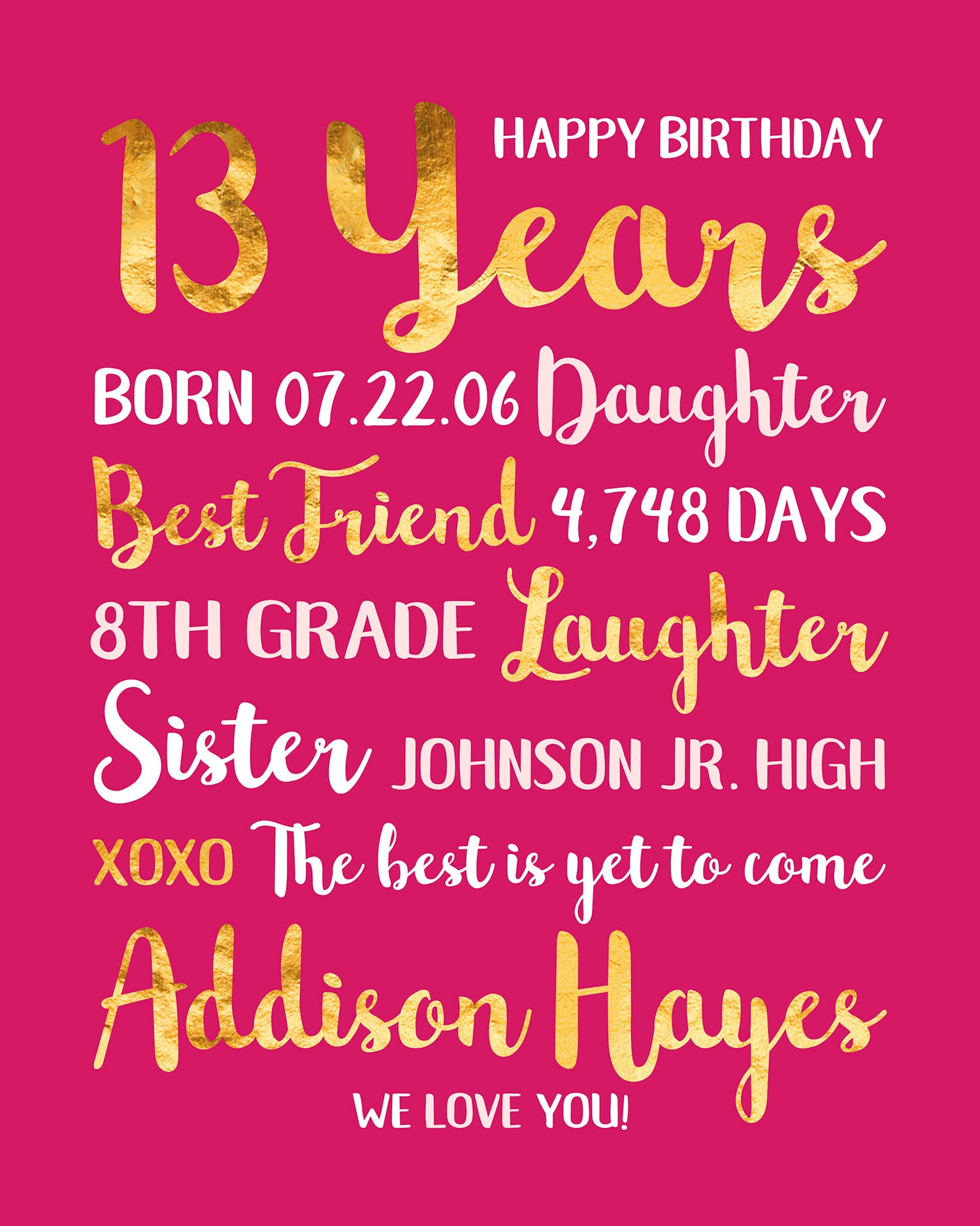 14th Birthday Gift Personalized Information For Daughter 14 Year Old Teenager Teen Bday