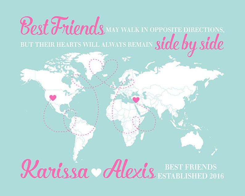 World Map Long Distance Friends Gift For Friend Moving Away Etsy