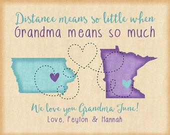 Birthday Gift for Grandma, Long Distance Grandmother, Gift for Mother, In Law, Kids Names, Grandma Sign, Nana, Granny Decor, 70th | WF511