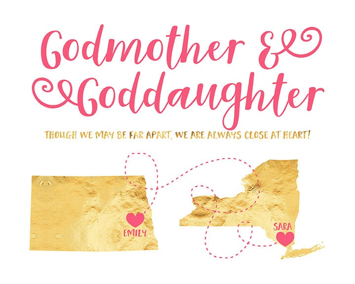 Godmother Gift Goddaughter Gift Long Distance Gift: Gift For Godmother Or Goddaughter, Long Distance Maps