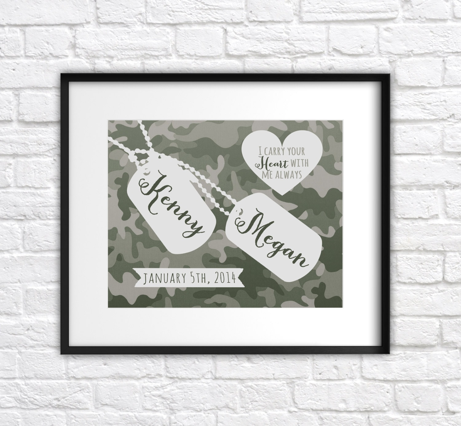 Military Wedding Gift Custom Present For Army Couple Art Print