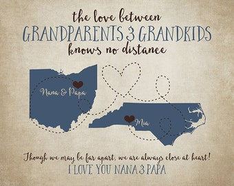 Grandparents Gift, Long Distance Grandma and Grandpa, Gift for Parents, Personalized Grandmother, Mother in Law, Grandkids, Father | WF438