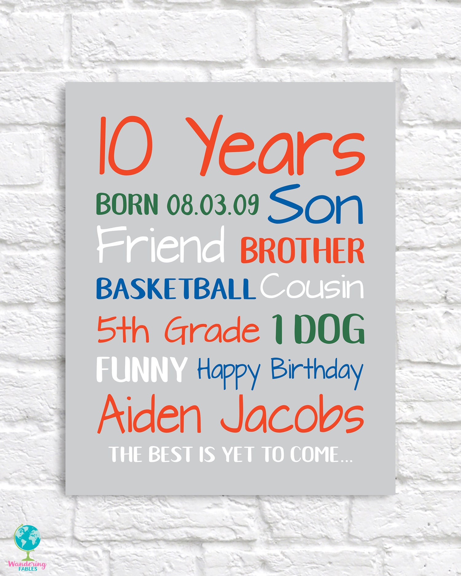 Birthday Gift For Boys 10 Year Old Gifts Personalized Bday