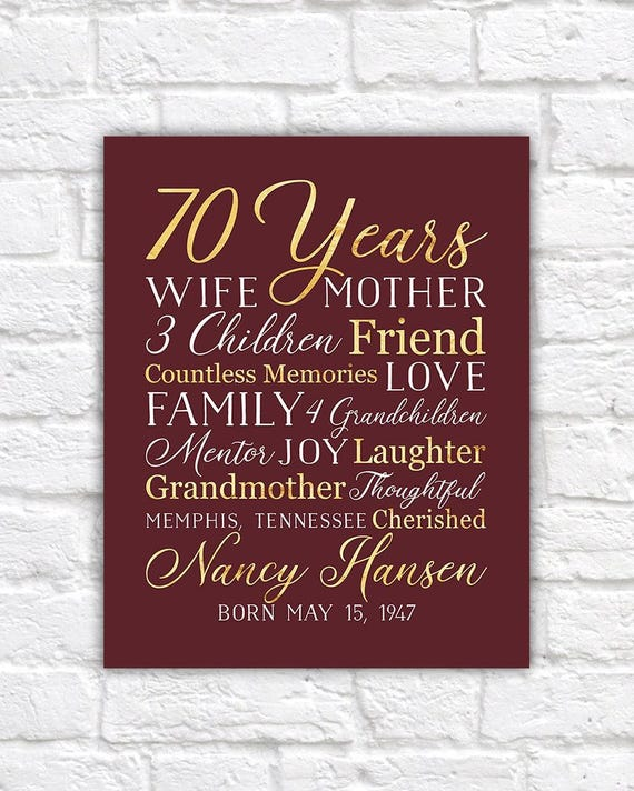 70th Birthday Gift For Mom Grandma 70 Year OId Born 1948