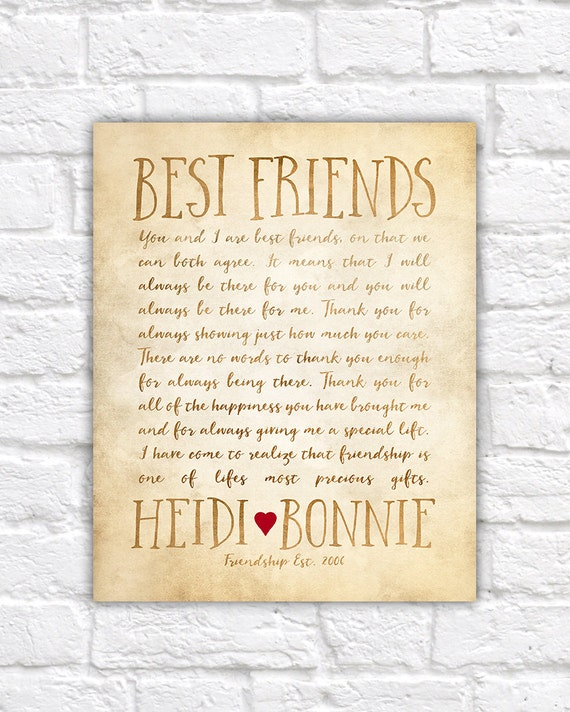 Custom letter for best friend art friendship poem birthday etsy image 0 expocarfo Gallery