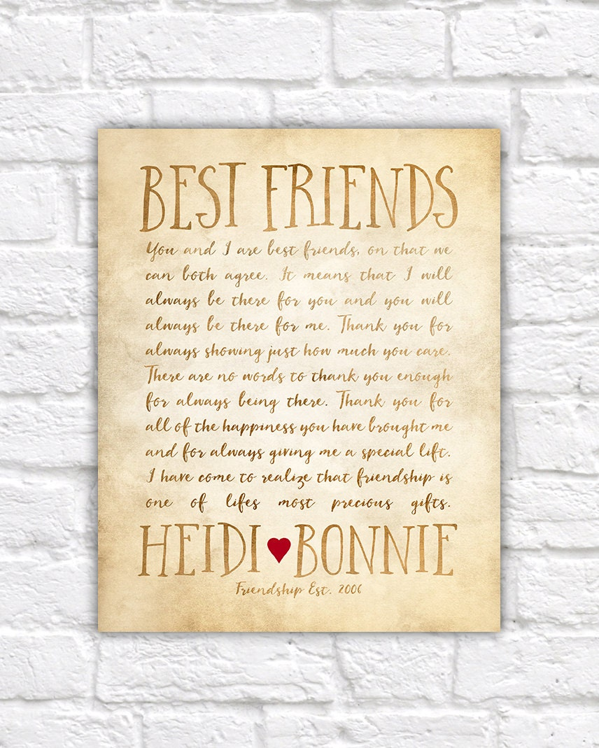 Custom letter for best friend art friendship poem birthday or custom letter for best friend art friendship poem birthday or thank you gift bff friend art personalized friends miss you wf323 expocarfo Choice Image