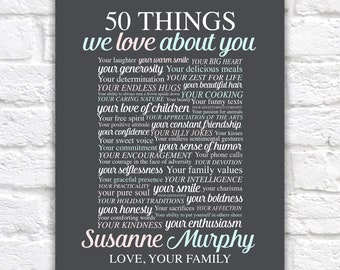 50 Things We Love About You, 50th Birthday Gift For Her, Woman, Sister, Mom, Party Decoration, 50th Birthday Sign 50 Reasons Why Art Decor