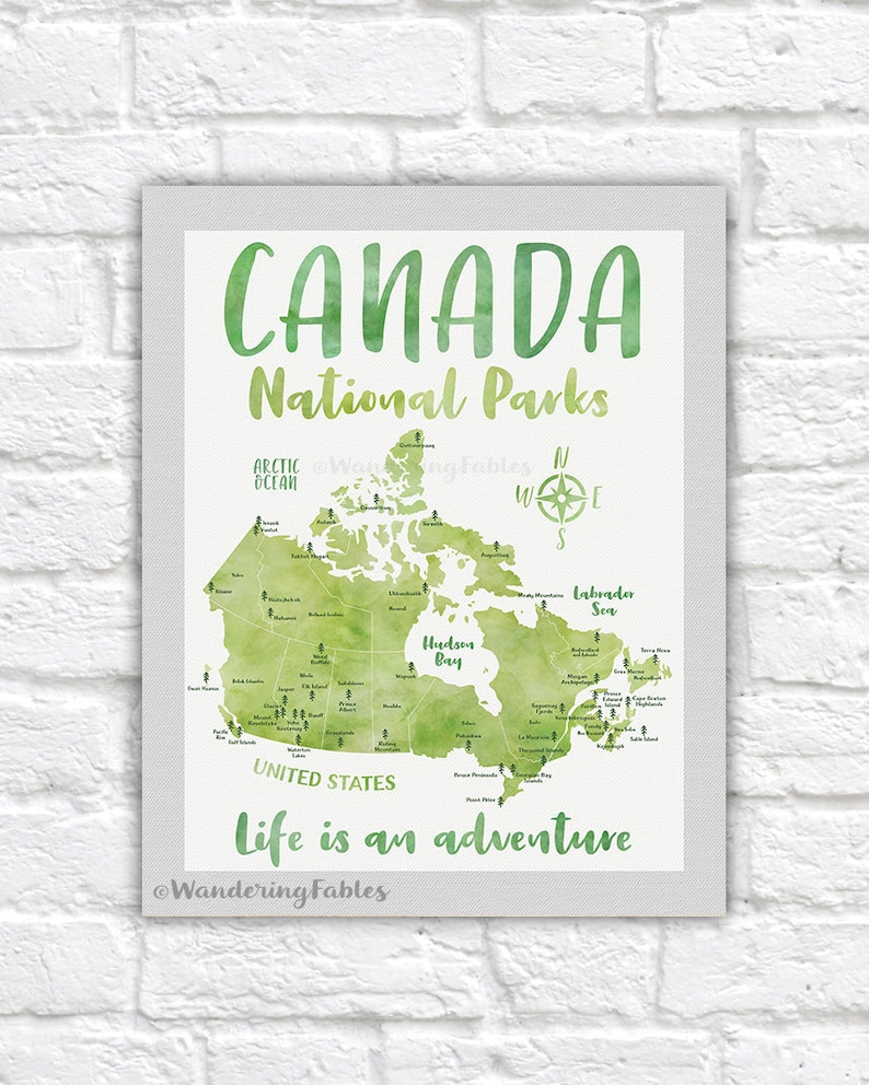Canada National Parks Map Poster Canvas Art Print | Etsy