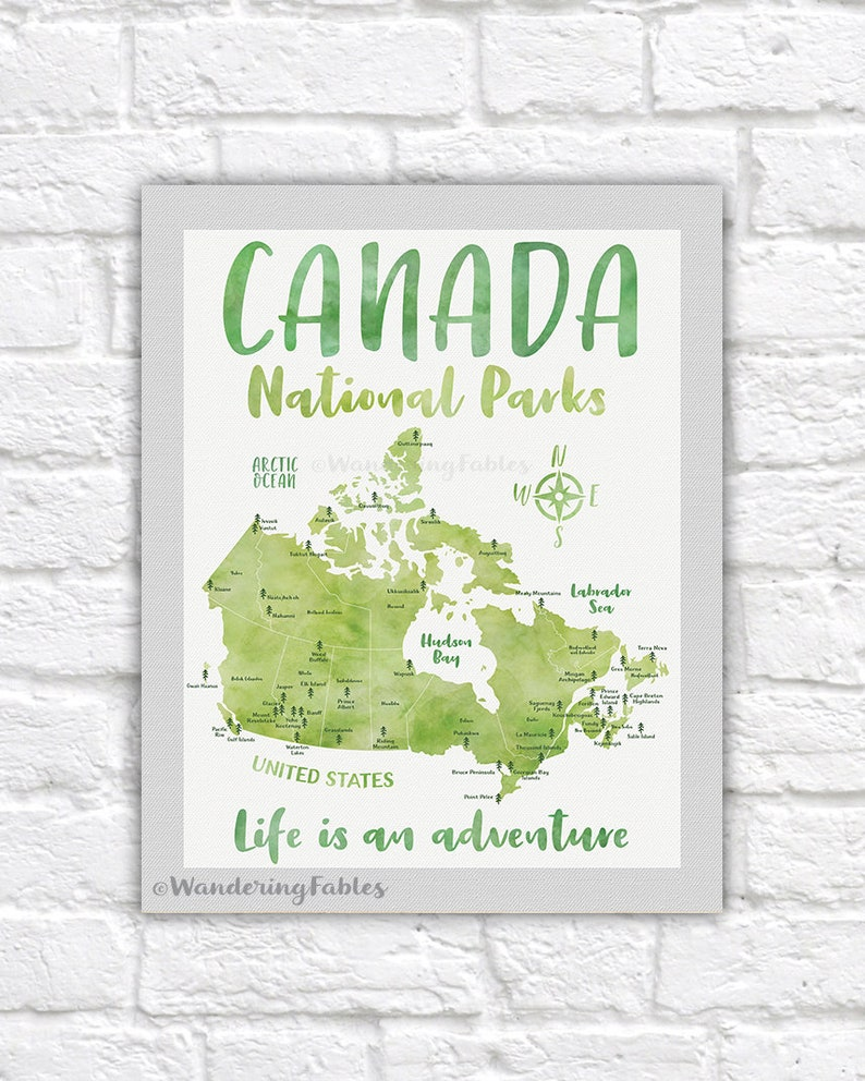 Let Me See A Map Of The United States.Canada National Parks Map Poster Canvas Art Print Educational Classroom Bucket List Map National Park Gift Traveler Hiker Wf621
