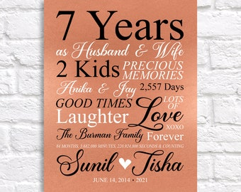 7th Anniversary Gift, Copper 7 Year Anniversary Art Personalized Sign, Couples Gift, 7th Anniversary for Him, Her, Husband, Wife Seven Years