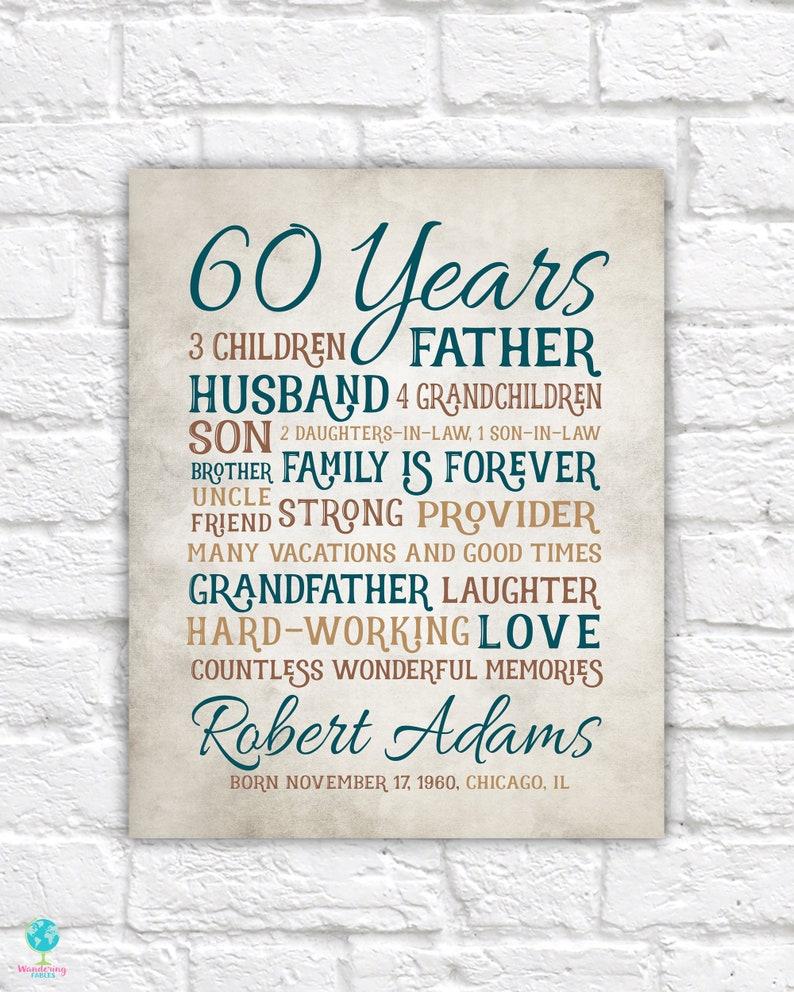 Wonderbaar Verjaardagscadeau voor papa 60ste verjaardag 60 jaar oude | Etsy DB-31