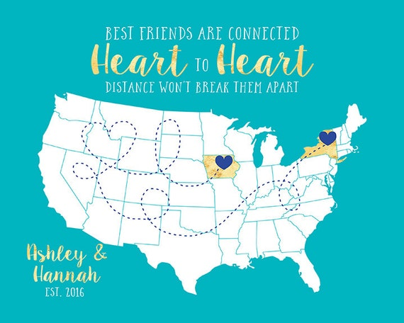 Gift For Best Friend Long Distance Friendship Quote Map Etsy