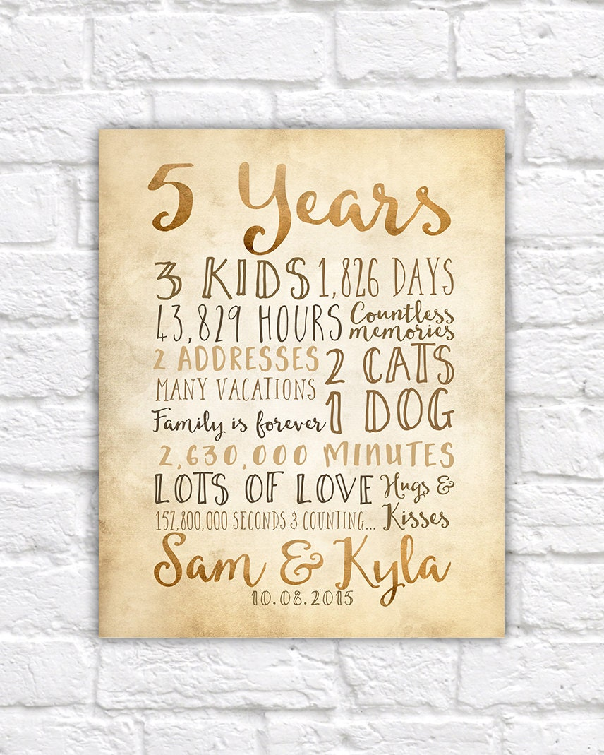 Fifth Wedding Anniversary Ideas: 5 Year Anniversary Gift 5th Year Of Marriage Or Dating