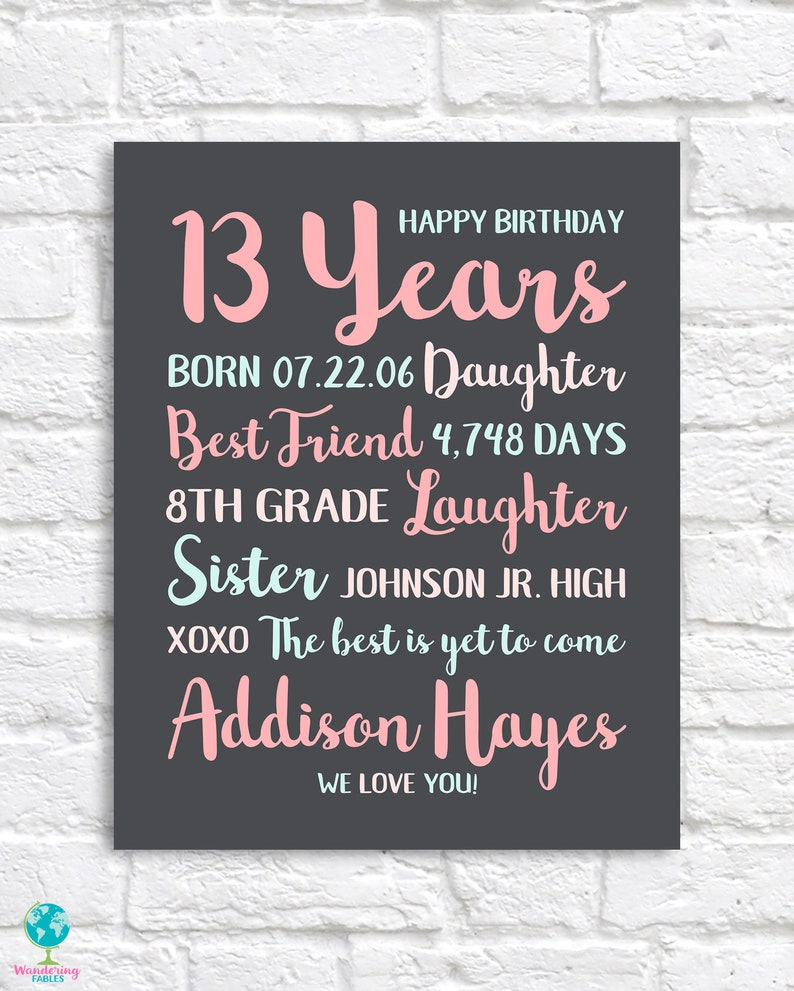 13th Birthday Gift Personalized Bday Gifts For Teen Girls
