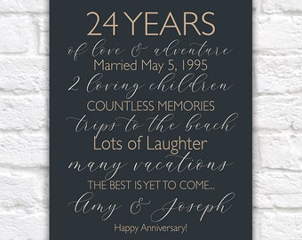 24 Year Anniversary Gift Personalized, Choose Your Words, Customizable Art,  Anniversary Gifts for Men, Women, 24th Anniversary Poster