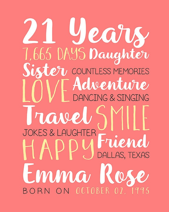 Any Year Birthday 21st Birthday Best Friend Birthday Gifts 21