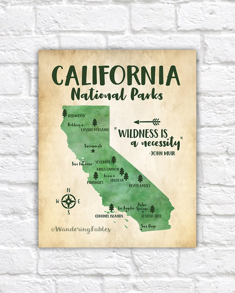 California National Parks Map Adventure Travel Mountains | Etsy on