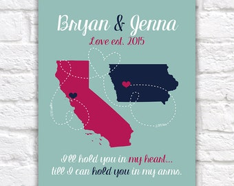 Long Distance Boyfriend Gift for Anniversary, Husband, Fiance, Deployment Military, Girlfriend or Wife, Canvas Wall Art Marines Navy WF98
