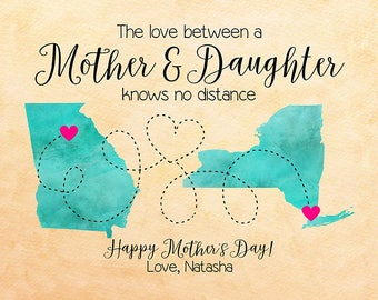 Mothers Day Gift, Personalized Mom Gift, Map Art, Mom Sign, Long Distance Mother Daughter, Gifts for Mom, Mum, Mother's Day Present   WF582