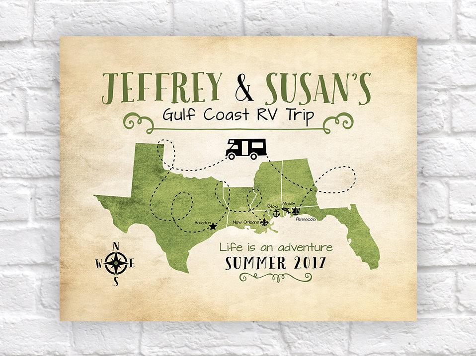 Gulf Coast Map Of Florida.Custom Rv Travel Map Retirement Gift Van Living Motor Home Gulf