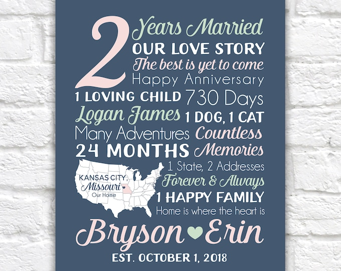 Featured listing image: 2nd Anniversary, 2 year Paper Anniversary Gift, Modern Gift for Wedding or Dating Anniversaries, Personalized Art for Home, Love Sign Gifts