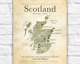 Golf Gift, Gifts for Golf Lovers, Scotland Golf Tour, Scottish Map, Golf Quotes, Dad Gift, Christmas, Boss, Gift Coworker, Office Art WF226