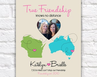 True Friendship Quote, Gift for Best Friend -  Custom Art Print, Christmas Gift for Friends, Long Distance Relationship, Sisters | WF55