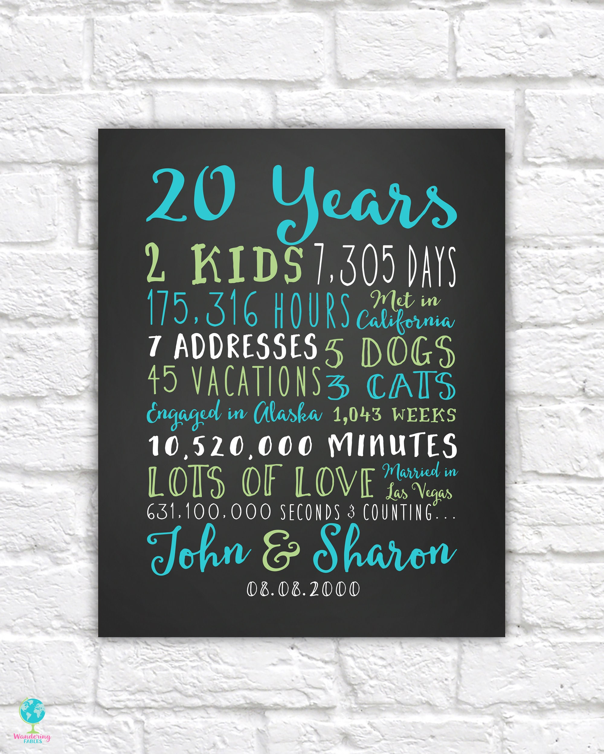 20 Year Wedding Anniversary Gift For Wife: 20th Wedding Anniversary Art, Personalized With Names And