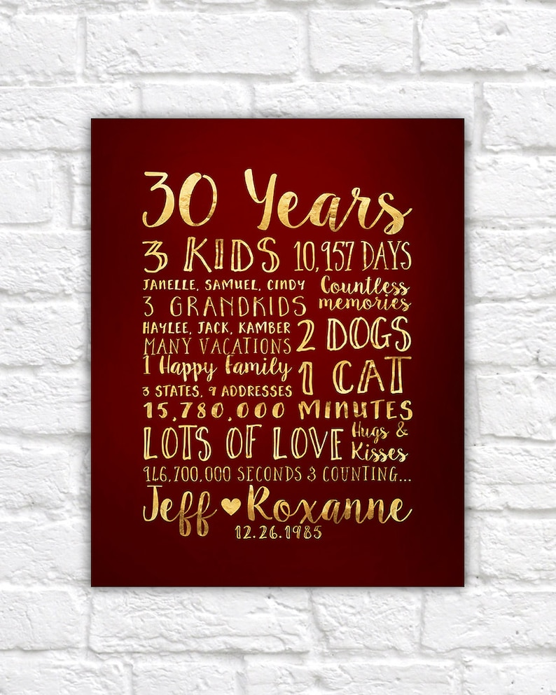 30 Years Wedding Anniversary Gifts.30 Year Anniversary Gift Gift For Parents Anniversary Kids Grandchildren Mom And Dad 30th Wedding Anniversary Family Quotes Wf67