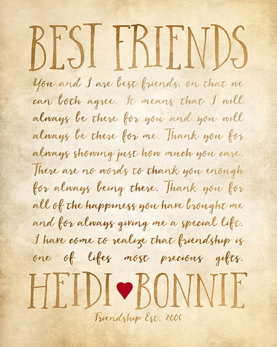 Custom Letter For Best Friend Art Friendship Poem Birthday Etsy
