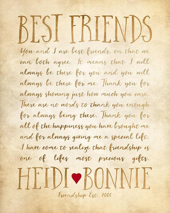 Custom letter for best friend art friendship poem birthday etsy image 2 image 3 expocarfo Choice Image