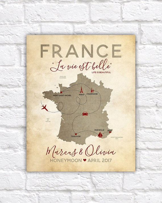 South Of France Map Detailed.Personalized France Map Paris French Honeymoon Vacation Travel Map Champagne Paris Nice Marseille South Of France Map Wf321