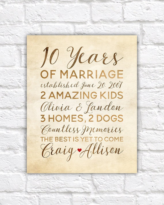 10 Year Anniversary Gift Wedding Anniversary Decor Rustic Etsy