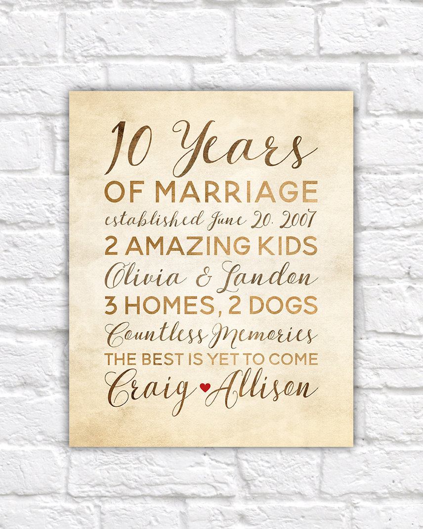 Gifts For 10th Wedding Anniversary For Him: 10 Year Anniversary Gift Wedding Anniversary Decor Rustic