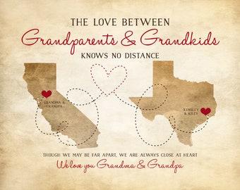 Grandparents Gifts, Nana, Grandpa, Grandma, Papa - Long Distance Parents, In Laws, Rustic Art, Rustic Decor, Grandfather Quotes | WF10