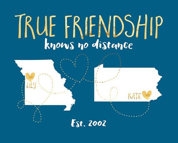 Best Friend Long Distance Art True Friendship Quote State Etsy